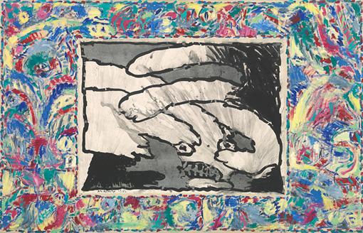 ピエール・アレシンスキー『至る所から』1982 年 インク / アクリル絵具、キャンバスで裏打ちした紙 ベルギー王立美術館蔵 ©Royal Museums of Fine Arts of Belgium, Brussels / photo: J. Geleyns - Ro scan ©Pierre Alechinsky, 2016