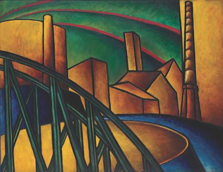 《風景(オーブダの造船場の橋》1918-19年 油彩、ビーバー・ボード ハトゥラ・モホイ=ナジ・コレクション ©2011 Hattula Moholy-Nagy