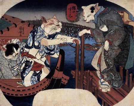 歌川国芳『猫のすゞみ』渡邊木版美術画舗蔵 前期展... かわいい江戸絵画に注目、応挙や国芳らの新
