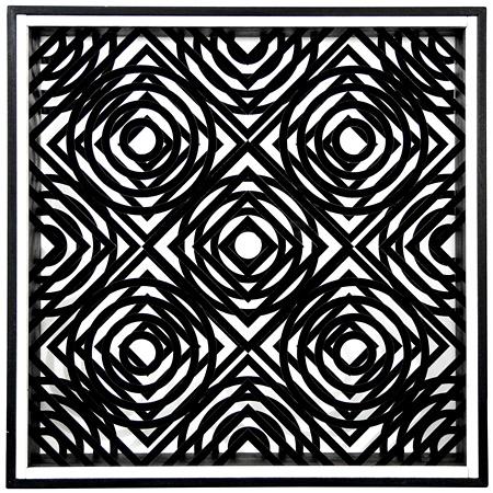 エンニオ・キッジョ『線の干渉 0(正方形+円)』 1966年 吹付塗装した透明アクリル樹脂・木製額
