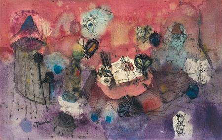 難波田史男『花の精』1969年 難波田史男『花の精』1969年  夭折した画家が描いた空想世界と