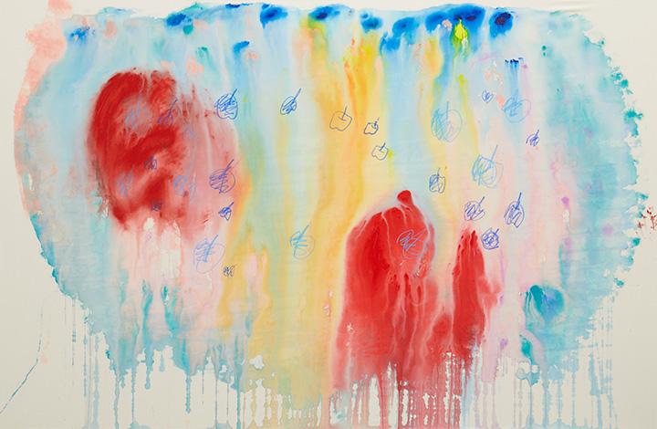 大宮エリー『りんごのおしゃべり』2016年 acrylic on canvas 190.0×293cm photo by Kenji Takahashi ©Ellie Omiya, Courtesy of Tomio Koyama Gallery / Koyama Art Projects