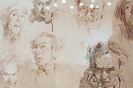 『自画像 さまざまな表情』(部分)紙、コンテ、1960年頃