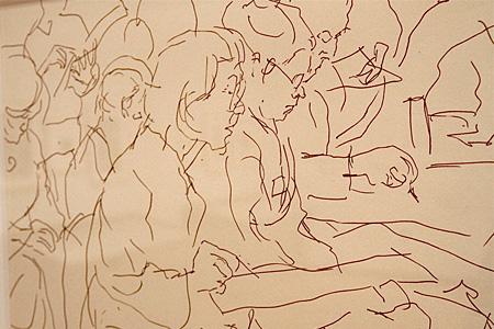 『写生会』(部分)紙、インク、制作年不詳