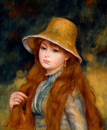ピエール=オーギュスト・ルノワール『長い髪をした若い娘(麦藁帽子の若い娘)』1884年 油彩、カンヴァス 三菱一号館美術館寄託
