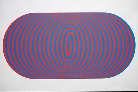 ジョエル・スタイン『青と赤の大きな円筒』1973年 アクリル・カンヴァス
