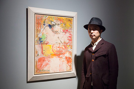 ウィレム・デ・クーニング『リーグ』1964年 油彩、板に貼られた新聞紙 76.5×58.7cm The Ryobi Foundation Collection