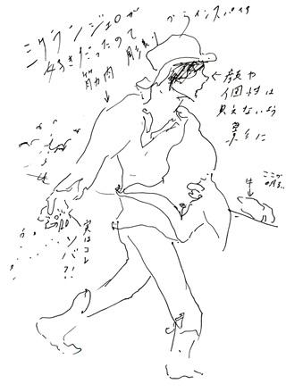 小林エリカ直筆『種をまく人』のスケッチ