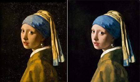 フェルメール『真珠の耳飾りの少女』オリジナルの画像データ(左)と、リ・クリエイトの画像データ(右)