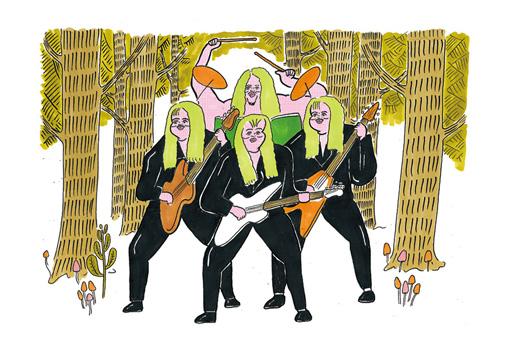 深遠な森の中に陣取ったメタルバンド