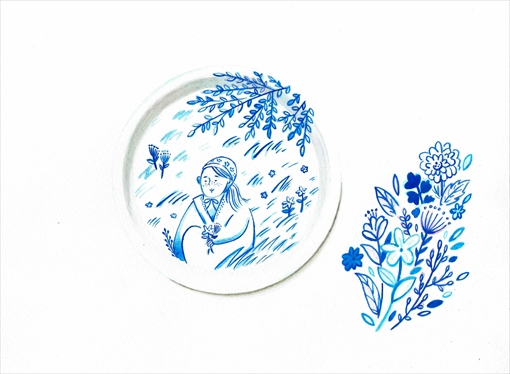 opto design「トレイ(夏至祭の乙女の花摘み)」
