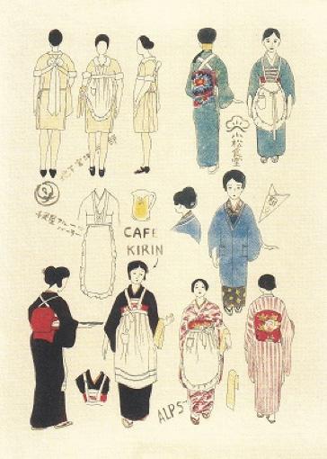 今和次郎による、市井の人々の洋服のスケッチ。