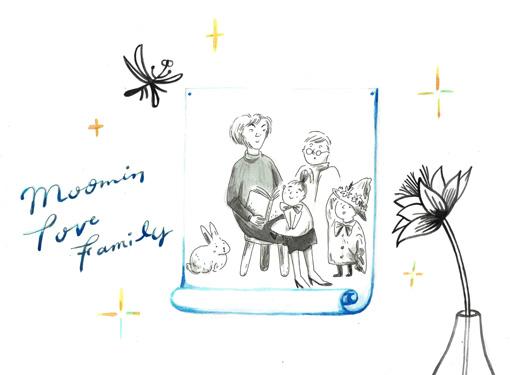 Moomin ムーミン モノクロミニポスター(TOVEファミリーフラワー / 24×30cm)