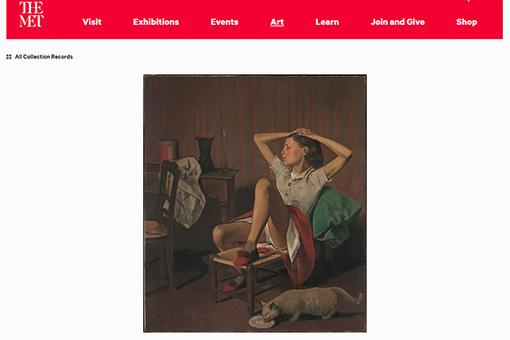 バルテュス『夢見るテレーズ』 メトロポリタン美術館オフィシャルサイトより