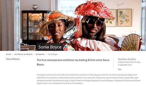 マンチェスター市立美術館のソニア・ボイス展のページ