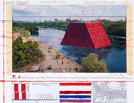 Christo The Mastaba (Project for London, Hyde Park, Serpentine Lake)