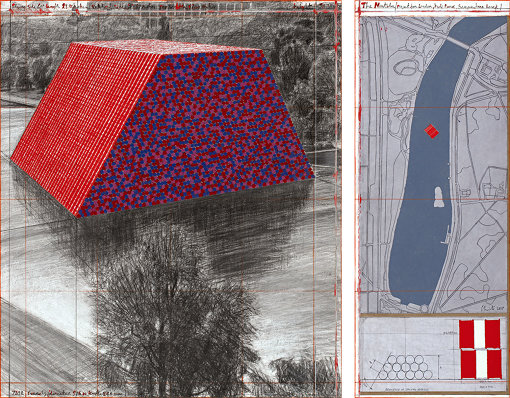 Christo, The Mastaba (Project for London, Hyde Park, Serpentine Lake)