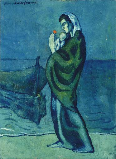パブロ・ピカソ『海辺の母子像』1902年 油彩/カンヴァス ポーラ美術館蔵 ©2018 - Succession Pablo Picasso - BCF(JAPAN)