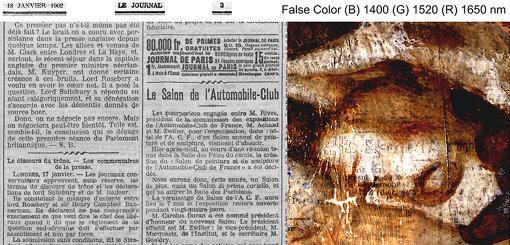 左:「ル・ジュルナル」紙(1902年1月18日号、 3頁)Source gallica.bnf.fr / BnF、右:赤外線ハイパースペクトル擬似色彩による新聞紙の文字の画像(反転画像)©John Delaney, National Gallery of Art, Washington