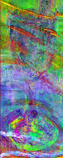 『海辺の母子像』(部分)近赤外線ハイパースペクトル主成分分析擬似色彩画像 ©John Delaney, National Gallery of Art, Washington