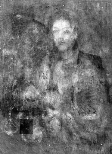 『海辺の母子像』透過X線画像と赤外線ハイパースペクトル主成分分析画像の合成画像 ©Institute for Cultural Properties, Tokyo / John Delaney, National Gallery of Art, Washington