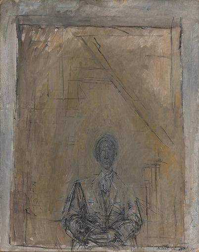 アルベルト・ジャコメッティ『矢内原』1958年 油彩・カンヴァス 92.0×73.0cm 石橋財団ブリヂストン美術館蔵
