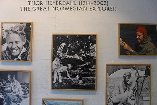 オスロの「コンティキ号博物館」に飾られているトール・ヘイエルダールの写真