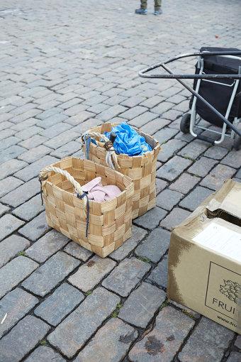 フィンランドの首都・ヘルシンキのマーケットで使われていたかご / 企画展「Suomi Finland」より