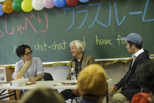 左から:筆者(中島晴矢)、小田光雄、磯部涼。トークイベント『死後の〈郊外〉—混住・ニュータウン・川崎—』での様子