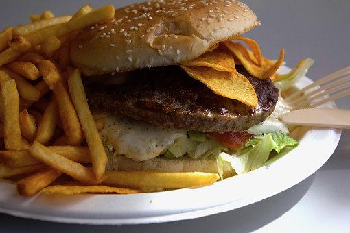 旅程で食べたハンバーガーのひとつ / 撮影:田尾圭一郎