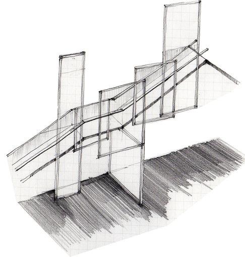 半田悠人による建築デザインのスケッチ