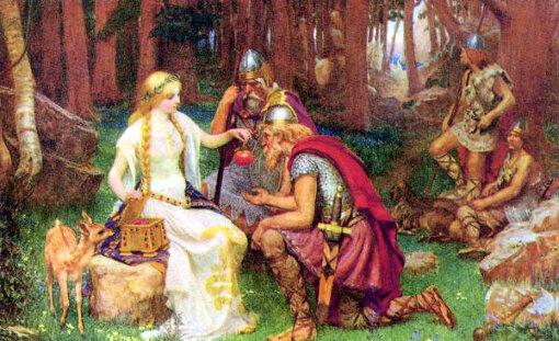 北欧神話における終末の日「ラグナロク」に備えて、リンゴを食べる神々の姿 / Idun and the Apples (1890) by J. Doyle Penrose.