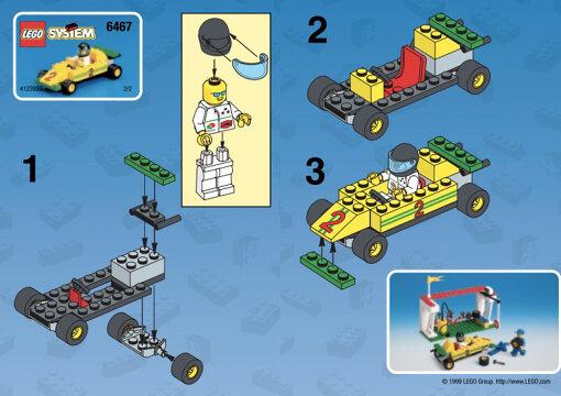 LEGOの組み立て説明書。1999年「LEGO® City 6467 Pit Stop」より。©2020 The LEGO Group