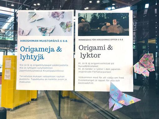 ポルヴォー市の図書館で行われた、平和を願う折り紙のワークショップの様子