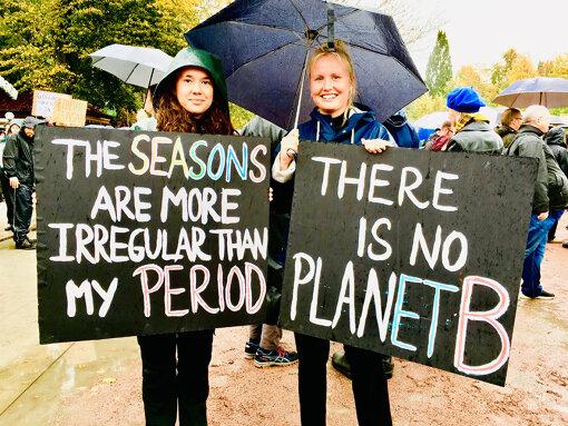 スウェーデンで雨のなか行なわれた、気候変動対策を求めるデモの参加者(写真:筆者提供)