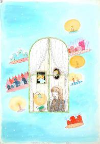陸奥A子/画『天使も夢みるローソク夜』 『りぼん』1982年2月号扉 原画 北九州市漫画ミュージアム/寄託(展示期間/後期)
