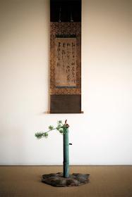 軸『梅花の偈』一休宗純、『雨樋銅花入 銘咲甫大夫』 撮影:森山雅智 © Hearst Fujingaho
