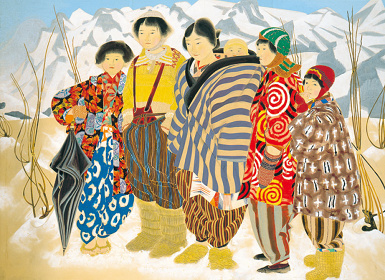 《雪の子(晴雪)》1946(昭和21)年、紙本着色・額、横浜美術館蔵(中島清之氏寄贈)