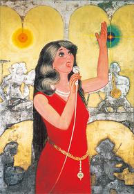 《喝采》1973(昭和48)年、紙本着色・額、横浜美術館蔵(中島清之氏寄贈)