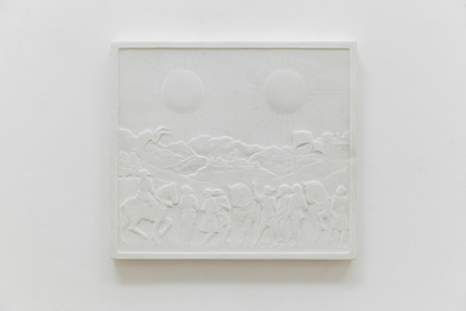 Soleil Double, Bas-relief in marble, 36×41×3cm, 2014 Photo : Marina Gusina Courtesy : Edouard Malingue Gallery, Hong Kong. ©Laurent Grasso / ADAGP, Paris, 2015