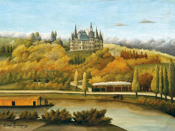 アンリ・ルソー『マルヌ河畔(秋、ダムリー・ブールソーの眺め)』1906年、油彩・カンヴァス、公益財団法人ハーモ美術館蔵