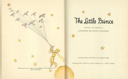"""『星の王子さま』英語版扉(キャサリン・ウッズ訳 ハーコート・ブレイス社)""""The little prince""""(Harcourt, Brace & Co.)transrated from the French by Katherine Woods"""