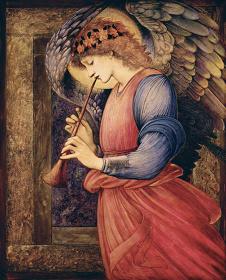 エドワード・コーリー・バーン=ジョーンズ 『フラジオレットを吹く天使』 1878年 水彩、グワッシュ、金彩・紙 © Courtesy National Museums Liverpool, Walker Art Gallery