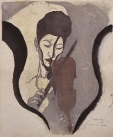『あるヴァイオリニストの印象(諏訪根自子像)』1946、木版・紙、東京国立近代美術館