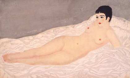 『裸膚白布』1928、木版・紙、ドゥファミリィ美術館