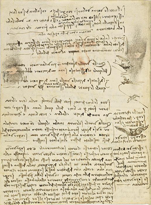 レオナルド・ダ・ヴィンチ 『鳥の飛翔に関する手稿』 第10紙葉裏、1505年、トリノ王立図書館 ©Biblioteca Reale
