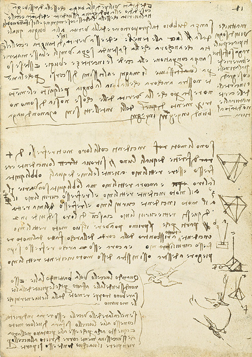 レオナルド・ダ・ヴィンチ 『鳥の飛翔に関する手稿』 第11紙葉表、1505年、トリノ王立図書館 ©Biblioteca Reale