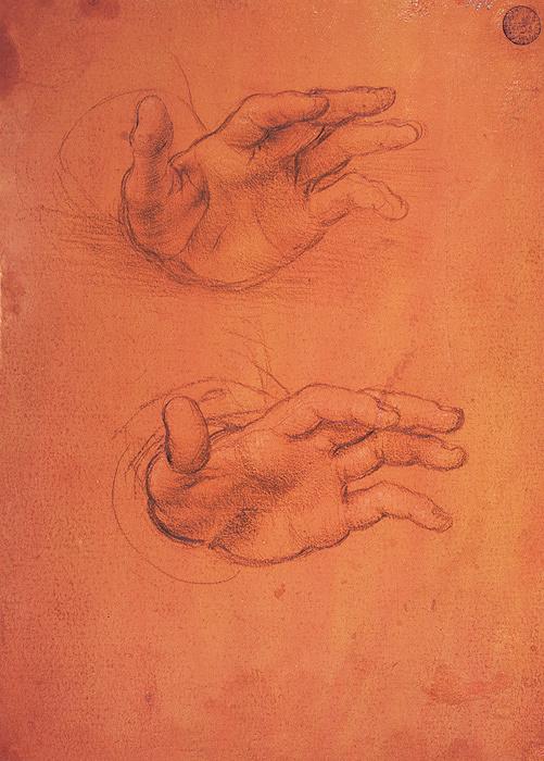 レオナルド・ダ・ヴィンチと弟子 『手の研究』 1495年頃、アカデミア美術館素描版画室 Su concessione del Ministero per i Beni e le Attività Culturali-Venezia Gallerie dell'Accademia