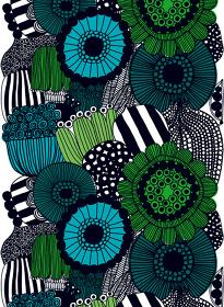 ファブリック『シィールトラプータルハ』(市民菜園)、図案デザイン:マイヤ・ロウエカリ、2009 年  Siirtolapuutarha pattern designed for Marimekko by Maija Louekari in 2009