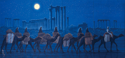 『パルミラ遺跡を行く 夜』 2006年 平山郁夫 平山郁夫シルクロード美術館蔵